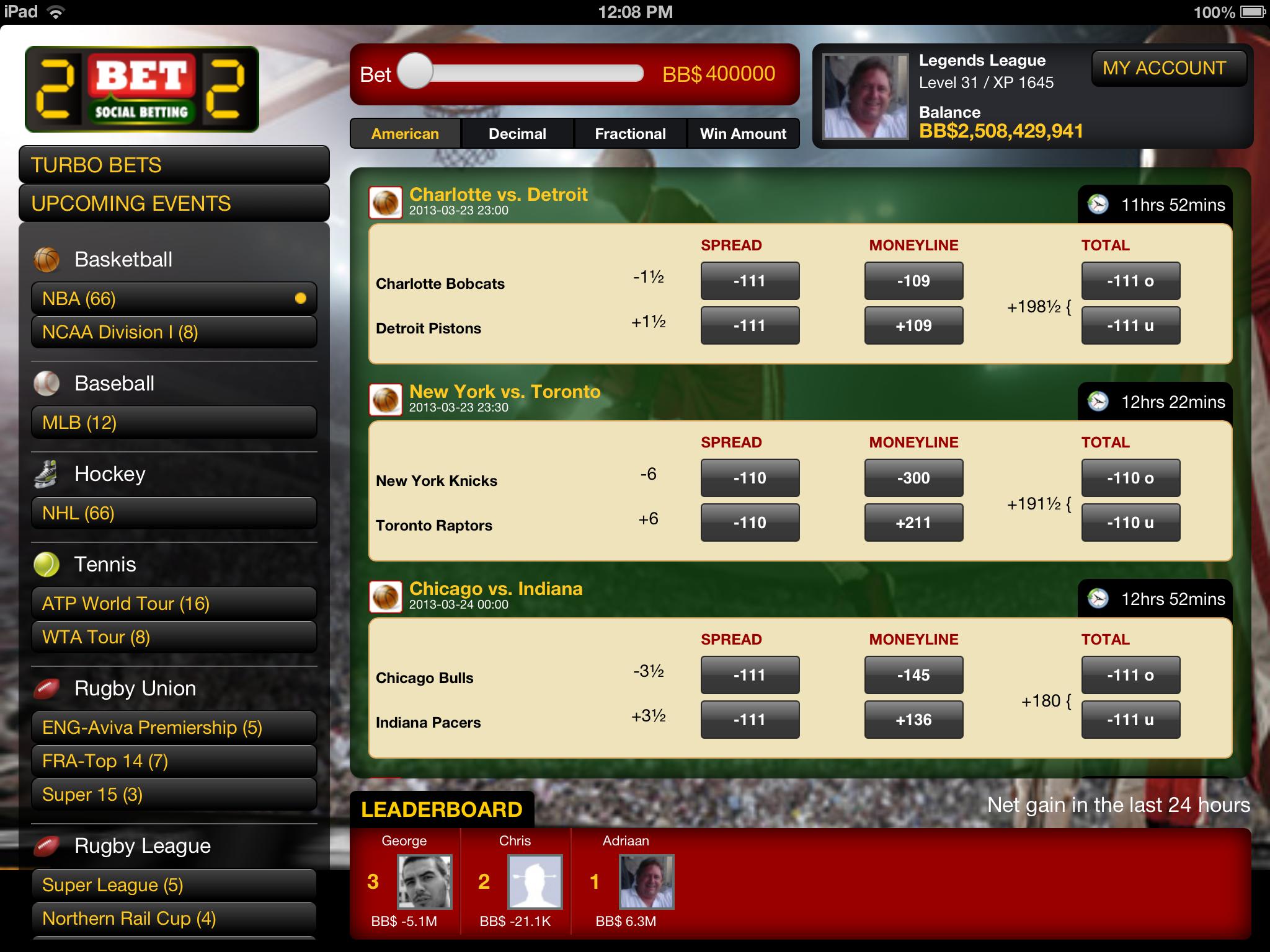 2BET2 Sports Betting iPad App